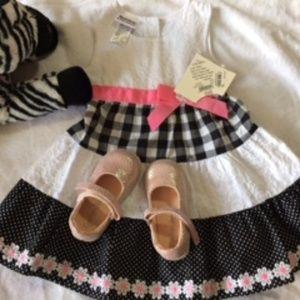 NWT Blueberi Boulevard Black n White dress 24 mths